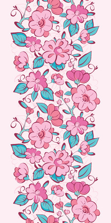japanese garden: Vector pink blue kimono flowers vertical border seamless pattern background