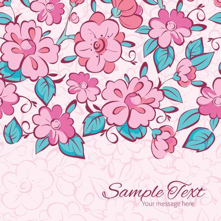 horizontal border: Vector pink blue kimono flowers horizontal border card template