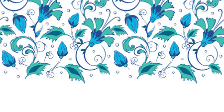 horizontal: Vector blue green swirly flowers horizontal border seamless pattern background