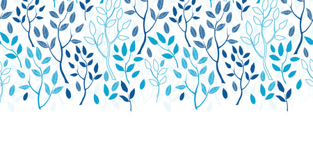 white wood: Vector blue forest horizontal border seamless pattern background