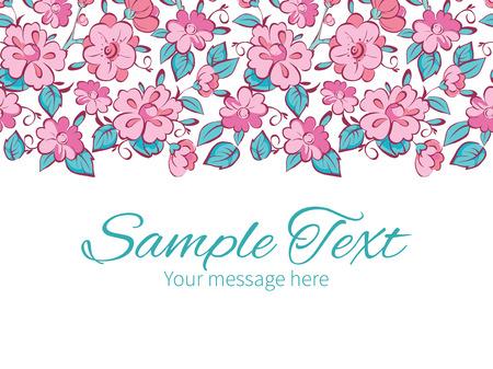 horizontal: Vector pink blue kimono flowers horizontal border greeting card invitation template