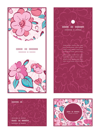 rsvp: Vector pink blue kimono flowers vertical frame pattern invitation greeting, RSVP and thank you cards set