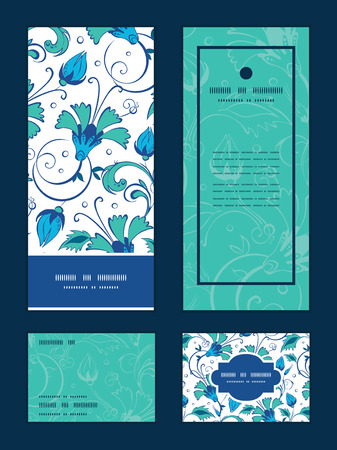 rsvp: Vector blue green swirly flowers vertical frame pattern invitation greeting, RSVP and thank you cards set