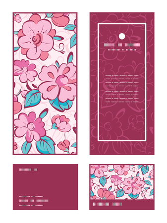 rsvp: Vector pink blue kimono flowers vertical frame pattern invitation greeting, RSVP and thank you cards set graphic design Illustration