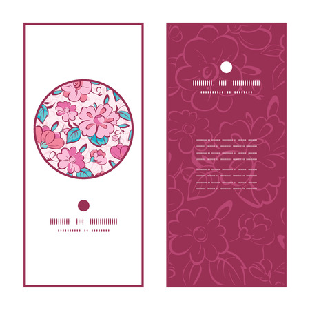 japanese garden: Vector pink blue kimono flowers vertical round frame pattern invitation greeting cards set graphic design