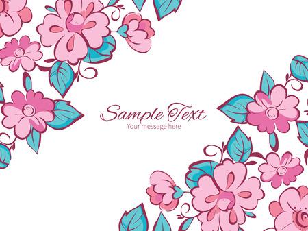 flowers horizontal: Vector pink blue kimono flowers horizontal double corners frame invitation template graphic design