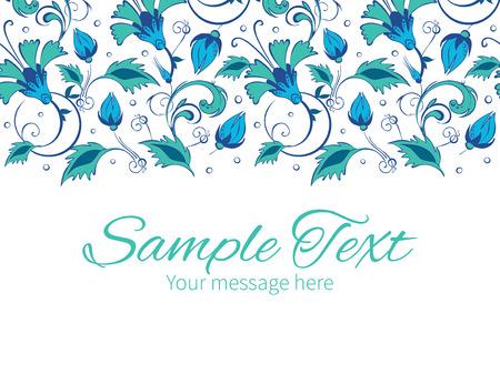 green swirl: Vector blue green swirly flowers horizontal border greeting card invitation template graphic design