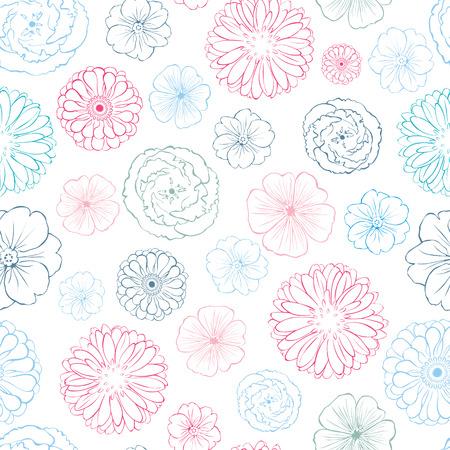 Pink Blue Line art Flowers Heads Seamless Pattern