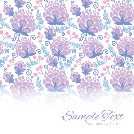 horizontal: soft purple flowers horizontal border card template