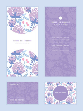 soft purple flowers vertical frame pattern invitation greeting, RSVP and thank you cards set