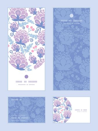rsvp: soft purple flowers vertical frame pattern invitation greeting, RSVP and thank you cards set