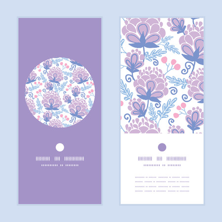greeting: soft purple flowers vertical round frame pattern invitation greeting cards set