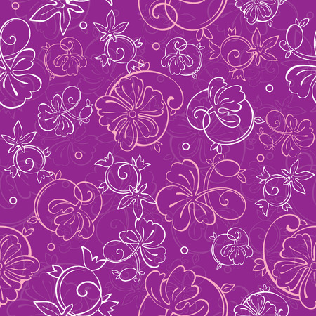 Vector Purple Nature Swirls Seamless Pattern Illustration