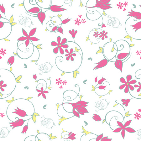 Vector Spring Flower Swirls Seamless Pattern