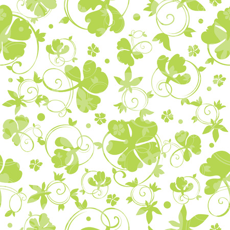 seamless clover: Vector Green Swirly Clover Seamless Pattern