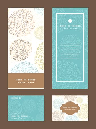 rsvp: Vector blue brown abstract seaweed texture vertical frame pattern invitation greeting, RSVP and thank you cards set Illustration