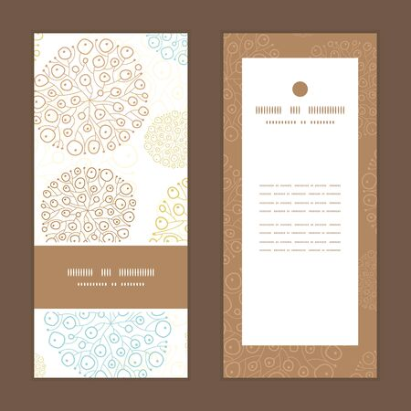 greeting: Vector blue brown abstract seaweed texture vertical frame pattern invitation greeting cards set Illustration