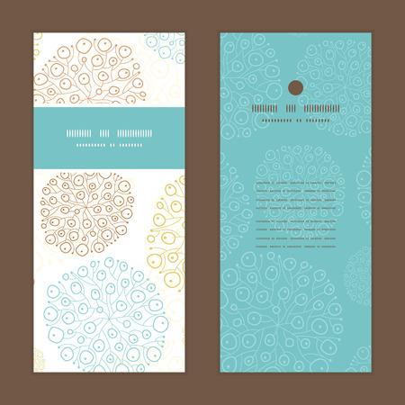 ベクトル青褐色の抽象的な海藻テクスチャー垂直フレーム パターン招待状グリーティング カード セット