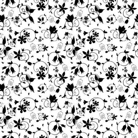 tile pattern: Vector Black White Swirl Floral Texture Seamless Pattern