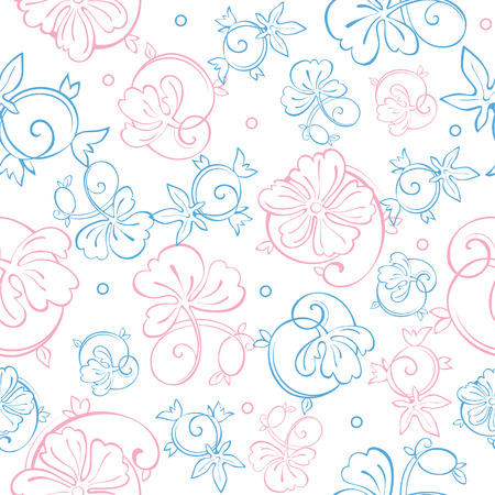 Vector Pink Blue Pastel Floral Swirls Seamless Pattern