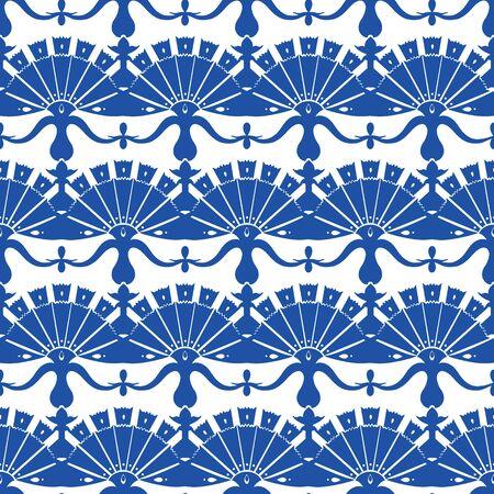 blumen abstrakt: Vector Royal Blue Turskish Floral Abstraktes Nahtloses Muster