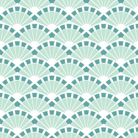 cadet blue: Vector Sea Green Fans Abstract Seamless Pattern