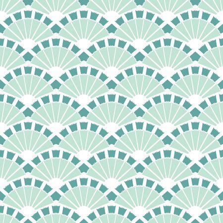 cadet blue: Vector Sea Green Fans Abstract Seamless Pattern