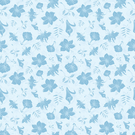 Vector blaue tropische Blumen-Beschaffenheit Seamless Pattern Grafik-Design- Vektorgrafik