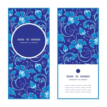 Vector dark blue turkish floral vertical round frame pattern invitation greeting cards set graphic design
