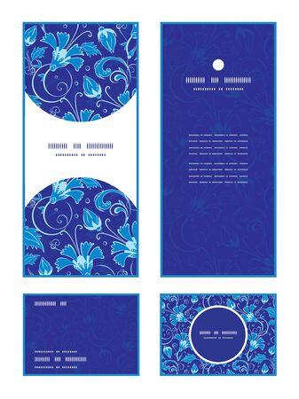 Vector dark blue turkish floral vertical frame pattern invitation greeting, RSVP and thank you cards set graphic design