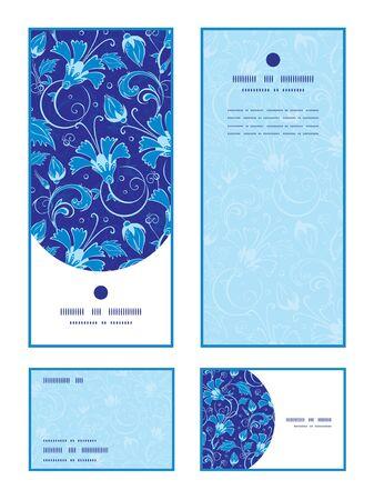 rsvp: Vector dark blue turkish floral vertical frame pattern invitation greeting, RSVP and thank you cards set graphic design