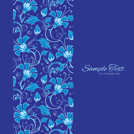 Vector dark blue turkish floral vertical frame seamless pattern background graphic design Imagens - 41836578