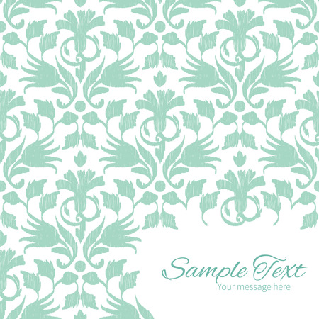 aqua background: Vector abstract green ikat frame corner pattern background graphic design