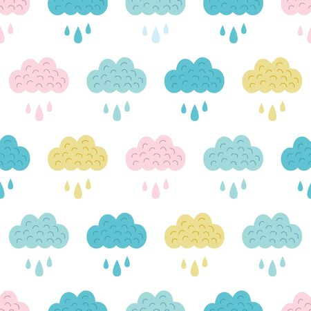 Vector Fun Colorful Clouds Seamless Pattern graphic design
