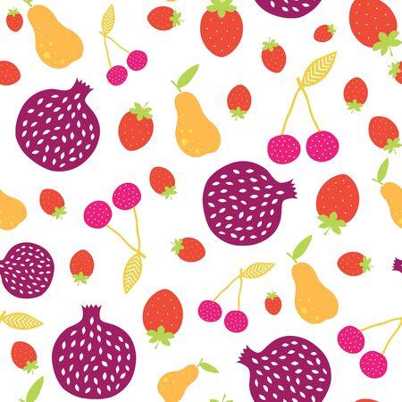 Vector Fun Fruit colorido inconsútil del modelo de diseño gráfico Foto de archivo - 41836952