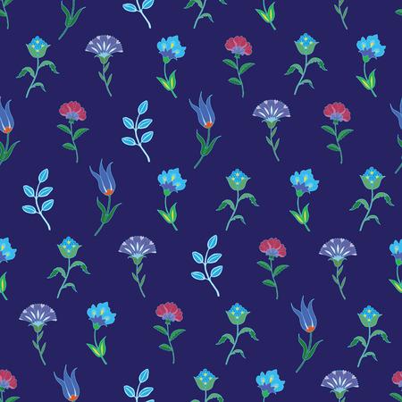 growing flowers: Vector Geometric Growing Flowers Seamless Pattern graphic design