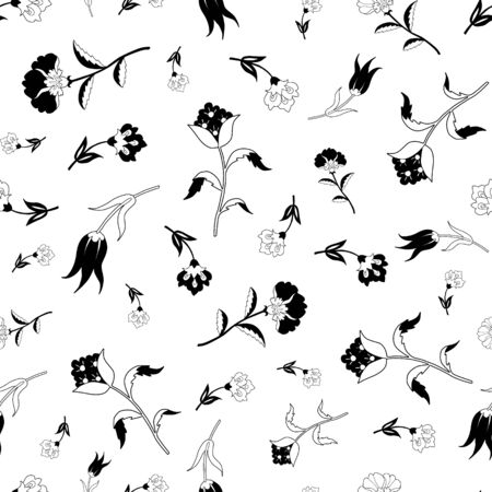 field of flowers: Vector Black White Vintage Field Flowers Seamless Pattern graphic design Illustration