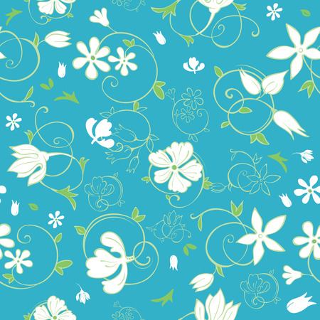 Vector Blue Green White Spring Florals Seamless Pattern graphic design 일러스트