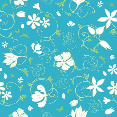 Vector Blue Green White Spring Florals Seamless Pattern graphic design Иллюстрация