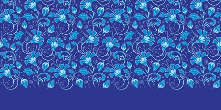 Vector dark blue turkish floral horizontal border seamless pattern background graphic design Çizim