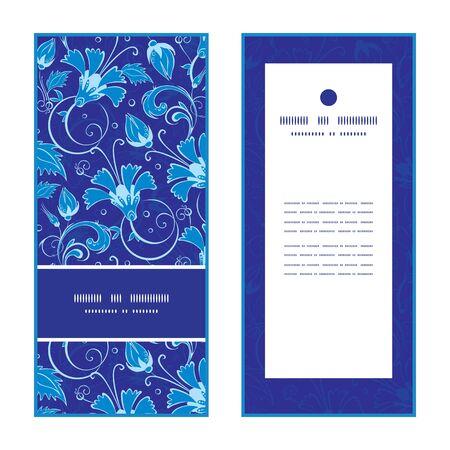 flower card: Vector dark blue turkish floral vertical frame pattern invitation greeting cards set graphic design Illustration