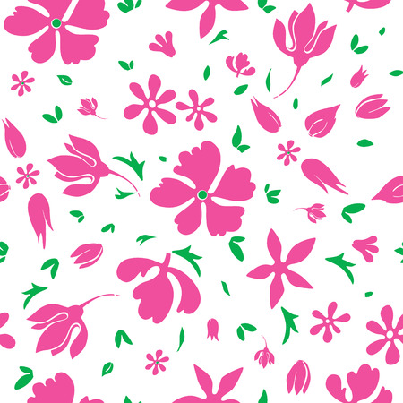 magenta flowers: Vector Magenta Flowers Silhouettes Seamless Pattern graphic design Illustration