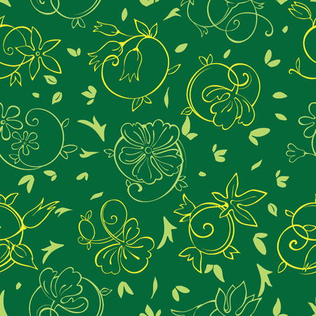 groene bloemen: Vector Royal Golden Green Flowers Seamless Pattern graphic design