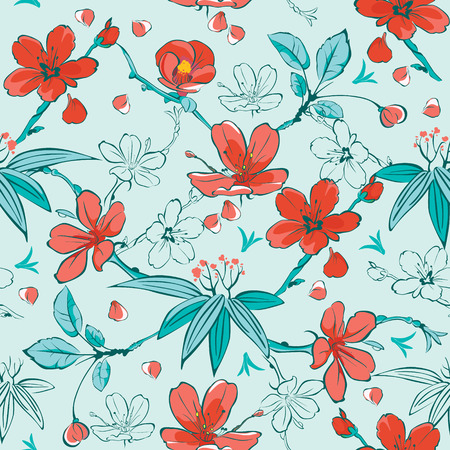 Vector Blue Red Japanese Flowers Seamless Pattern graphic design Vectores