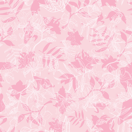 Vector Exotic Pink Dawn Florals Seamless Pattern graphic design Illustration