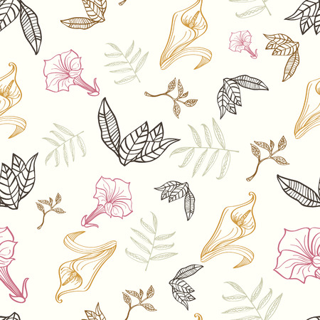 Vector Floral Gold Pink Brown Tropical Drawing Seamless Pattern graphic design Illustration