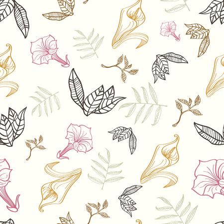 patrones de flores: Vector floral del oro rosa diseño gráfico inconsútil del modelo de Brown Tropical Dibujo
