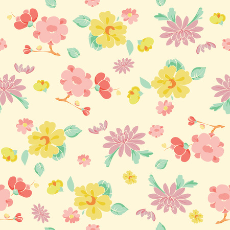 the womanly: Vector Painterly Pink Yellow Kimono Flowers Seamless Pattern graphic design