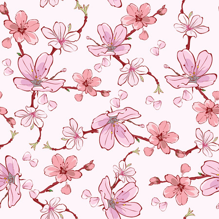 japanese flower: Vector Pink Cherry Sakura Flowers Seamless Pattern graphic design