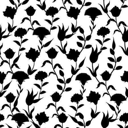 Vector Silhouette Black White Turkish Flowers Seamless Pattern graphic design